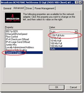 Broadcom Network Card properties