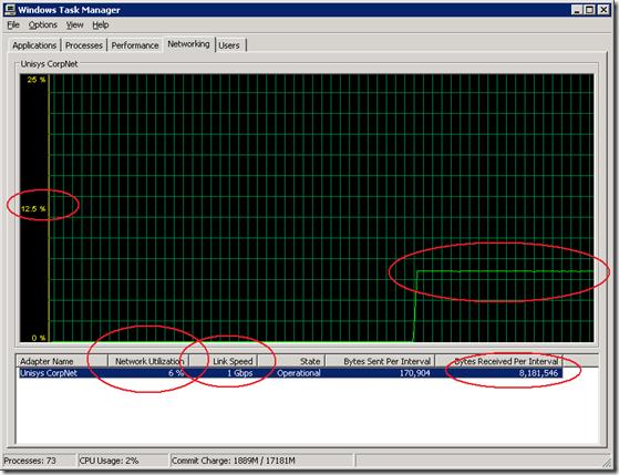 a network hardware limit; throughput shows a clear Flatliner