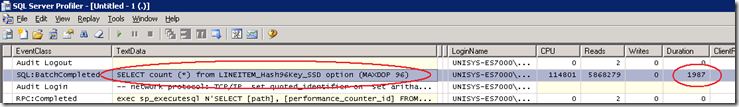 SELECT count (*) from LINEITEM_Hash96Key_SSD option (MAXDOP 96)