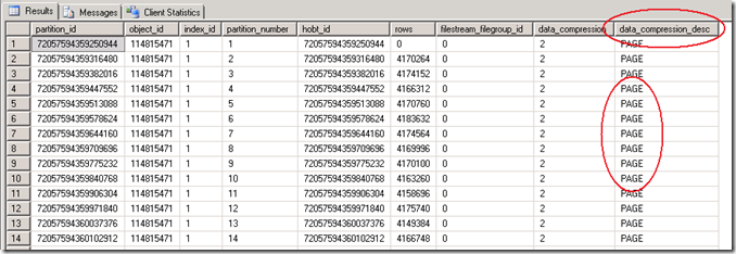 Select * from sys.partitions where ..