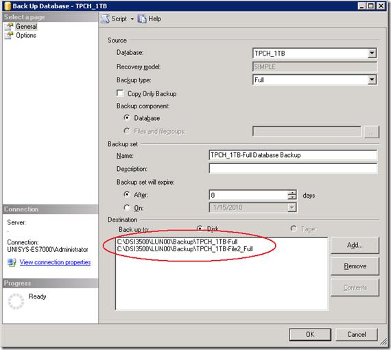 Specifying multiple backup destination files