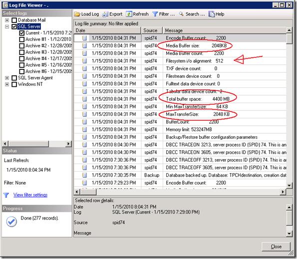 SQL Errorlog with backup settings