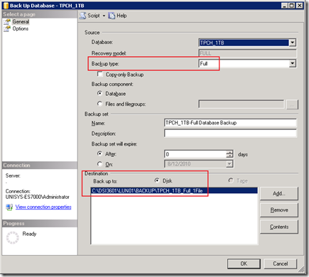 Starting the full backup through the SSMS GUI