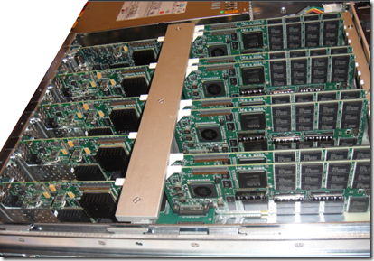 a 2TB DSI 3600 uncovered; on the left the 8 Fiber ports and on the right the SLC SSD chips
